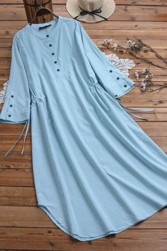 Summer Dresses Long Dress For Women Casual Cotton White Light Blue Army Green Korean Fashion Dresses