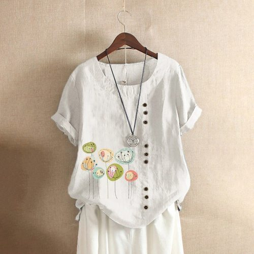 Vintage Women Cotton Linen Tees 2021 Summer Tunic Top Loose Short Sleeve Shirt Boho Buttons Casual Blusas Mujer Plus Size