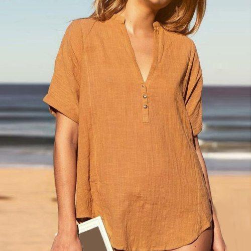 Shirt Women Camisetas Tee Tops T-shirt Summer Casual V Neck Short Sleeve T Shirt Button Down Tops Cotton And Linen T-shirt R5