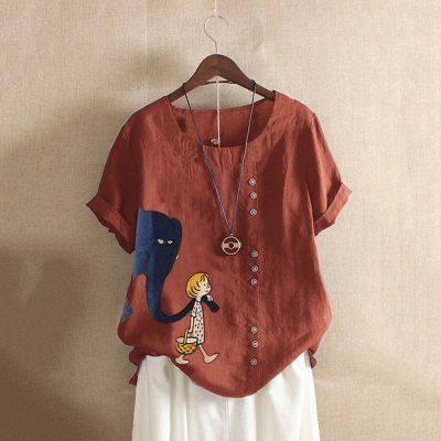 5xl Cotton Linen Blouses Women 2020 Summer Elephant Print Short Sleeve Shirt Elegant Plus Size O-neck Buttons Pullover Feminine