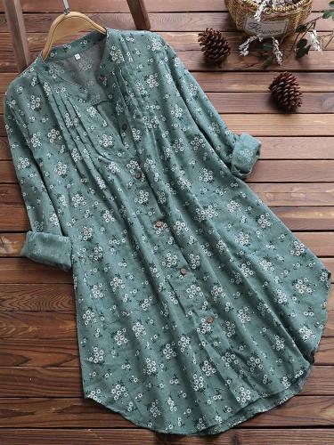 2021 Summer Floral Print Blouse Women Long Sleeve V-neck Top Elegant Work Plus Size Long Shirt Loose Streetwear Women Clothes