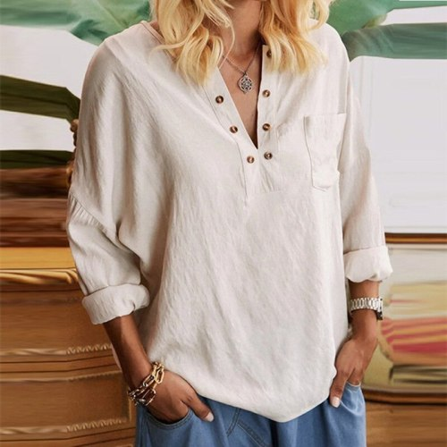 Women T-Shirt Solid Color V Neck Buttons Long Sleeve Loose Tops 2021 Summer Fashion Women Casual Loose Shirts Ropa De Mujer