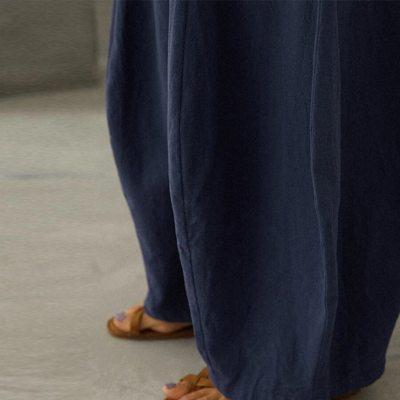 1pc Pants Fashion Women Oversize S-5XL Loose trend Solid Cotton Linen Big Pockets Casual Wide Leg Pants un pantalon брюки c50