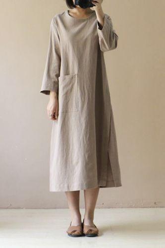 2021 Plus Size Linen Midi Dress Womens Spring Summer Sudress Casual Long Sleeve Split Tunic Vestidos Female Front Pocket Robe