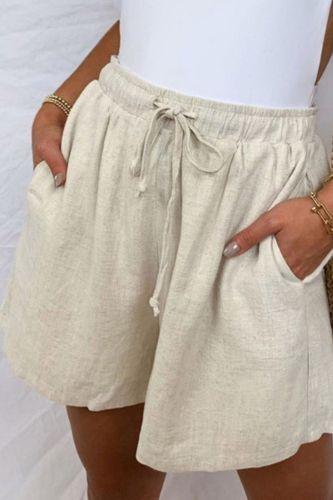 Cotton And Linen New 2021 Amazon Summer High Waist Thin Loose Loose Pocket Elastic Shorts