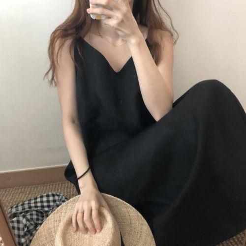 Black Camisole Dress Women's Summer Loose Midi plus Size Chiffon Dress Woman Dress Vestido De Mujer Femme Robe