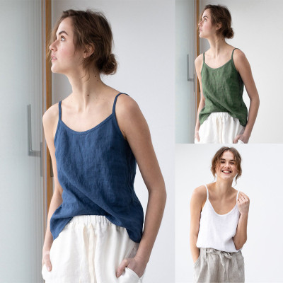 2021 Hot Style Women'S Clothing Ins Casual Loose Small Sling Imitation Cotton And Linen Sling Shirt Top Camis Vest