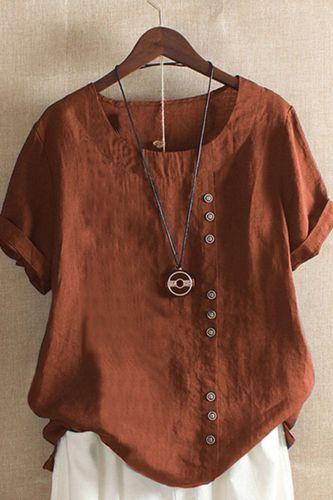 2021 Gothic Summer Women Cotton Linen Baggy Blouse Short Sleeve Loose Elegant Ladies Linen Blouse Shirt Mujer Blusa Plus Size