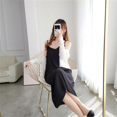 Black Camisole Dress Women's Summer Loose Midi plus Size Chiffon Dress Woman Dress Vestido De Mujer Femme Robe