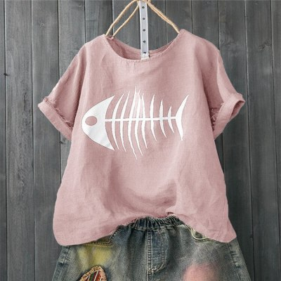 Women Casual T Shirt Fish Bone Print Loose Short Sleeve Shirt Funny Tops Tee Shirts Femme Camisetas Verano Mujer 2021 Tshirt