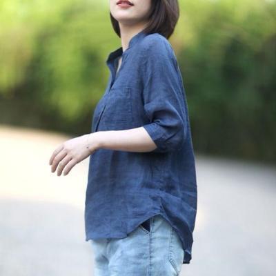 New Summer Style Women Shirt Plus Size Half Sleeve Loose Casual V-neck Blouses Femme Cotton Linen Vintage Blouse Tops CYK1