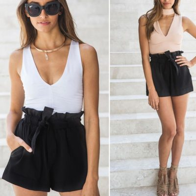 Casual Tie Front Ruffled Waist Paper Bag Shorts Ladies Summer Drawstring Solid Color Mid-waist Shorts Streetwear Cute Shorts