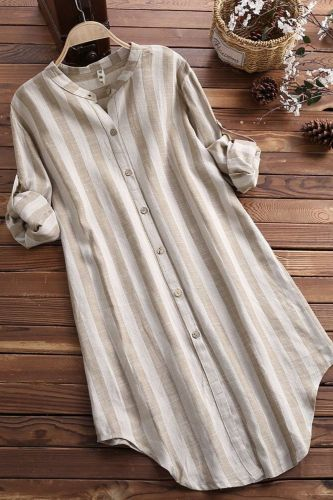 2021 New Women Tops Blouses Autumn Loose Button Long Sleeve Long Shirt  Blouse stripe Plus Size Casual  Top M-5XL