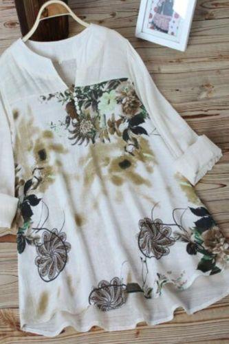 2021 Oversize fashion summer women cotton linen shirt top print splice Blouse Plus size 5XL long-sleeved pullover shirts G879