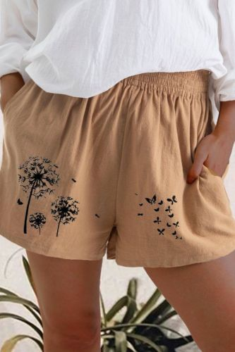 5XL Women Cotton Linen Casual Shorts New Summer High Waist Pocket Loose Short Vintage Dandelion Butterfly Print Shorts Streetwea
