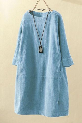 Spring Autumn Dress Women Plus Size Bust 135cm 5XL 6XL 7XL 8XL Loose 3/4 Sleeve Dress