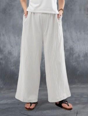 Cotton Linen Trousers Casual Simple Cotton Linen Trousers Women'S Loose Wide-Leg Pants