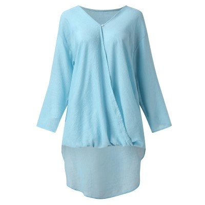 T Shirt Women Plus Size V neck Ladies Tee Shirts Solid Loose Casual Tops Female Spring Summer Irregular T-shits 2021