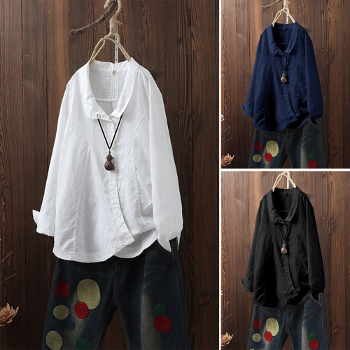 Newest Sleeve Linen Women Tops S- 5xl Plus Size Casual Fashion Cotton Linen Lady Shirt Office Working