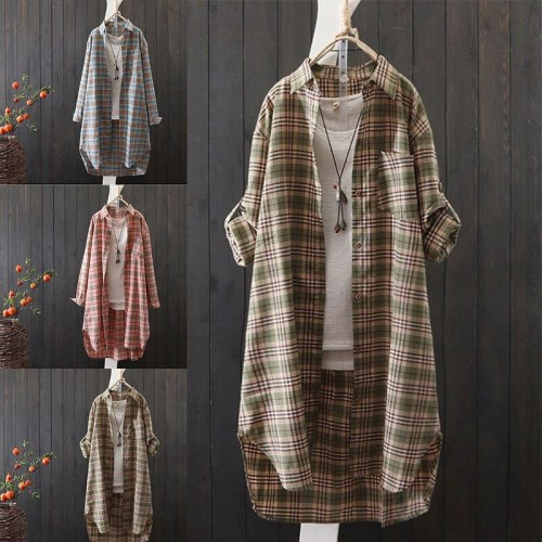 New Women Casual Basic Spring Autumn Plaid Blouse Top Shirt Long sleeve Plus Size S~3XL