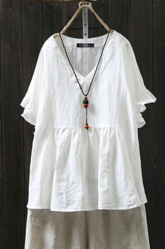 Plus Size Women's Blouse 2020 New Loose Half Sleeve V-neck White Cotton Blouse Women Tops Solid Color Casual Women's Shirts-5XL