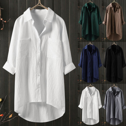 Women 2021 Spring Fashion Solid Color Casual Shirts Female Pocket Long Sleeve Shirts Ladies Single-breasted Loose Blouses V922