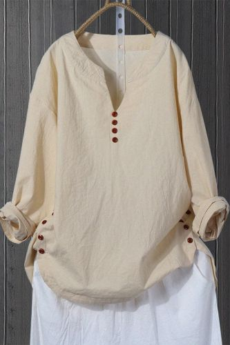 Literature and art national style retro Korean Pullover V-neck loose blouse