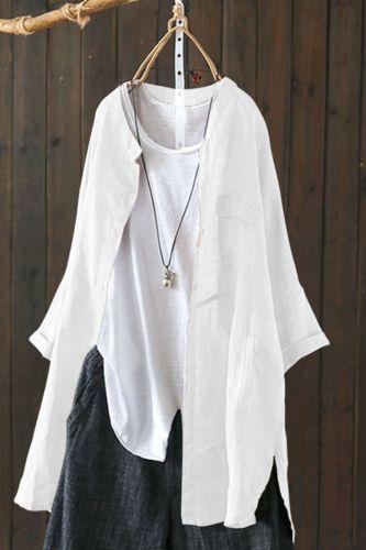 Retro Women Chinese Style Cardigan Shirt Solid Casual Cotton Linen Summer Long Coat Blouse Full Sleeve Traditional Hanfu Jacket
