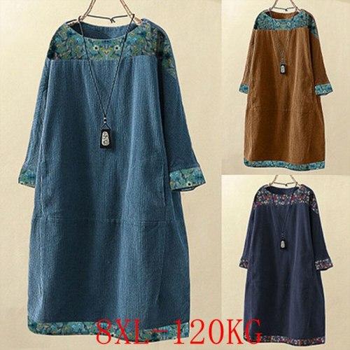 Spring Women'S Plus Size Dress 4XL-8XL Bust 133CM Fashion Plus Size Women'S Round Neck Pocket Casual Corduroy Printed Dress