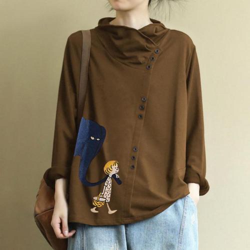 T Shirt Women Casual Leisure Knitting Printing High Collar Turtleneck Women Clothes Oblique Button Plus Size Tee Shirt Femme