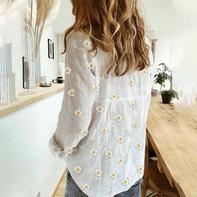 Women Daisies Print Shirts White Long Sleeve Button V-Neck Loose Female Tops 2020 Summer Casual Ladies Shirt Oversized 5XL