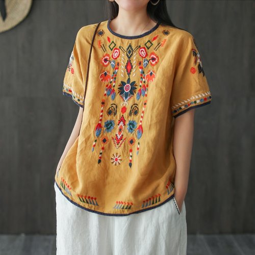 Women Vintage Summer T-Shirts Short Sleeve Loose Soft Linen 2021 New Casual Clothes Female T-shirts Tops