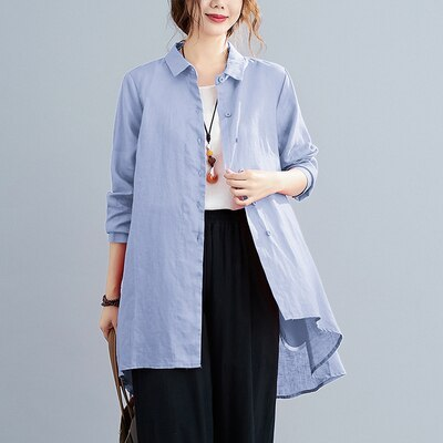 Oversized Women Cotton Linen Long Shirts New 2020 Autumn Vintage Turn-down Collar Female Long Sleeve Loose Casual Tops S1670