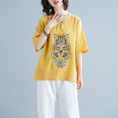 Women Blouse Plus size 100% Cotton Linen Blouse Vintage Short sleeve Summer Embroidery Tops Shirt Ladies Casual White Red Yellow