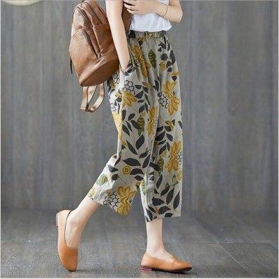 Plus Size Casual Linen Pants 2020 Women's Trousers Vintage Polka Dot Pantalon Female Elastic Waist Printed Turnip Harem Pants