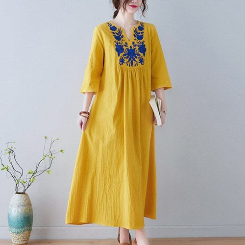 Embroidery Floral Vintage Dress Half Sleeve Loose Spring Summer Dress 2021 New Arrival Plus Size Long Women Travel Casual Dress