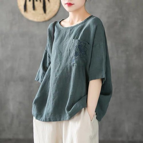 Cotton and Linen 2021 New Flower Embroidery Women T Shirt Female Short Sleeve Loose Summer Casual Y2k Tops