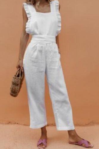 Girl Beach Suits Rompers Womens Jumpsuit Solid Ruffle Slim Overalls Bandage Backless Long Pants Women Jumpsuit Salopette Femme