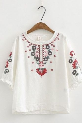 Women Cotton Linen Floral Embroider  Blouses Boho Ethnic Lantern Sleeve Shirts Vintage Retro Hippie Casual Tops Summer Blusa