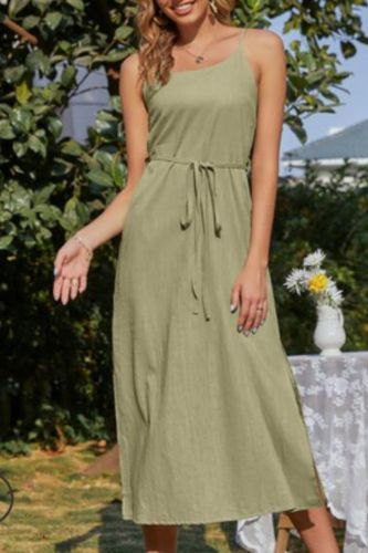 Sexy Womens summer sundresses Casual Solid Sleeveless Backless Strappy Midi Dress Elegant Off Shoulder Spaghetti Strap Dresses