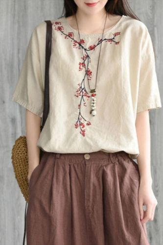 Plus size Women Blouse 100% Cotton Blouse Summer Ladies Tops Casual Embroidery High quality Short sleeve Solid color Red 4XL