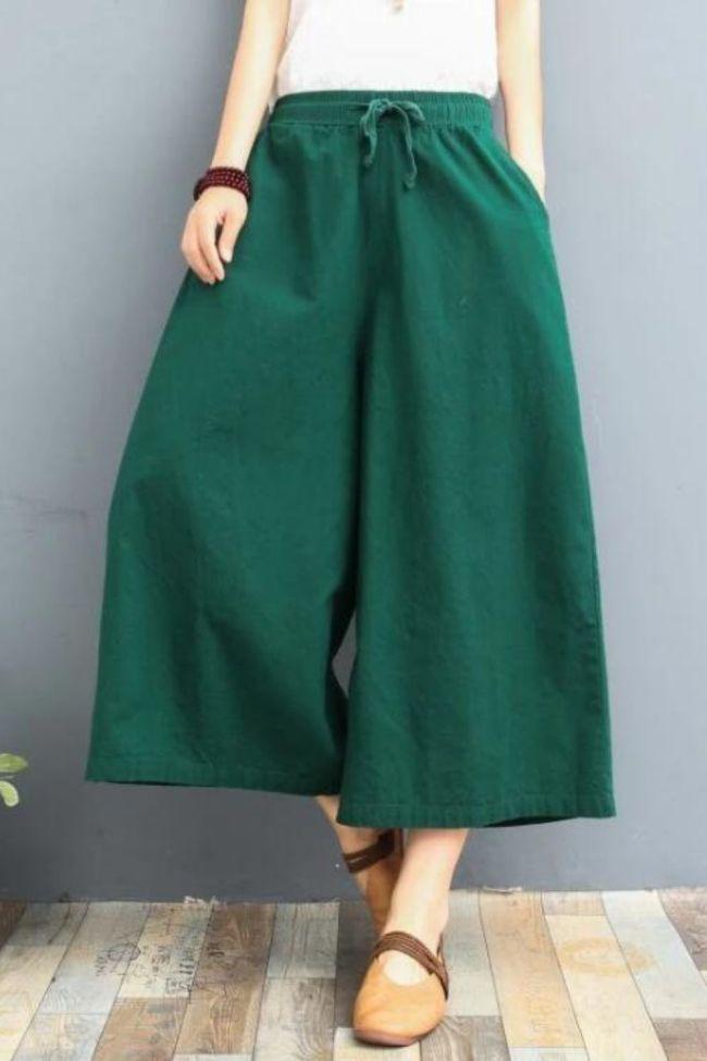 Plus Size Cotton Linen Pants Women Spring High Waist Calf-Length Wide Leg Pants Casual Summer Trousers Women's Pants Streetwear