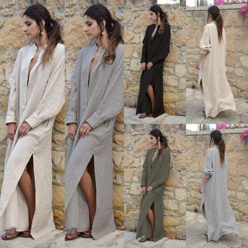 Summer Women Dress Vintage Loose Sexy Long Sleeve Jupe Fendue Casual Vintage Ladies Dresses Plus Size