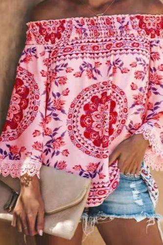 Summer Off Shoulder Floral Print Blouse Shirts Women Elegant Lace Top Vintage Long Sleeve Ladies Office Blouses