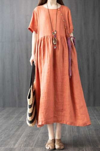 Short Sleeve Loose Summer Dress Cotton Linen Patchwork Button Vintage Dress Solid Color Women Holiday Casual Midi Dress