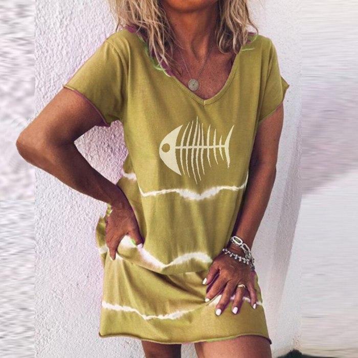 2021 Boho Beach Dresses Women O-neck Party Dress Women Casual Loose Fish Print Contrast Short Sleeves V-neck Mini Dress #25