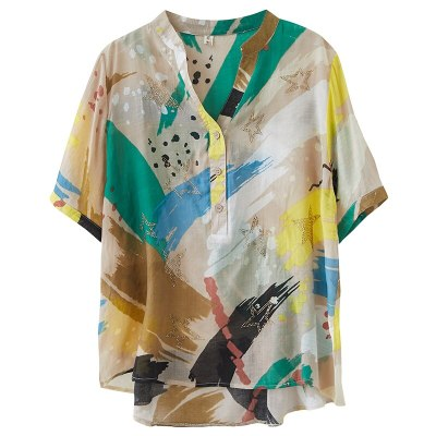 2021 Korean Fashion Designer Ladies Casual Tops And Blouses Women Linen Shirts Female Printed Short Sleeve Clothes