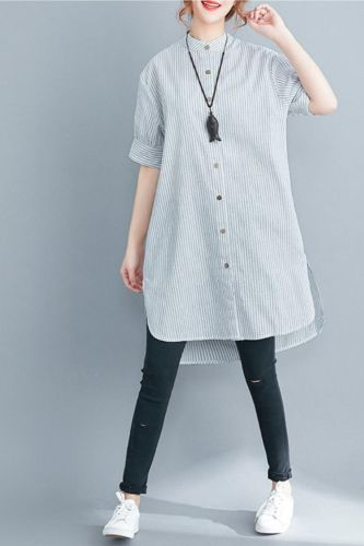 Cotton Striped Women Shirts 2020 Summer Vintage Long Loose Casual All Match Female Outwear Coat Tops