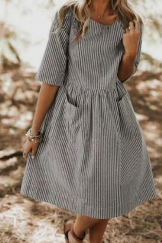 Summer Striped Dress Women Vintage Half Sleeve Pockets Dresses 2021 Plus Size Casual Baggy Sundress Female Vestido Robe