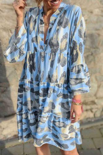 2021 Women Sexy V-Neck Lady Beach Dress Casual Vintage Leopard Print Party Dress Spring Summer Flare Sleeve Loose DressVestidos